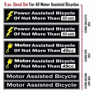 Power Assisted Bicycle Decal Fits Motorized Bicycles-2